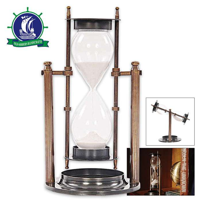 Antique-Style Revolving Brass Sand Timer / Hourglass - Two-Tone Antique Brass Finish