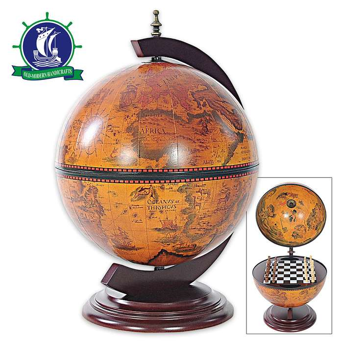 Antiqued Globe / Wooden Chess Set and Board Holder - Wooden Base - Antique Art, Map Reproductions