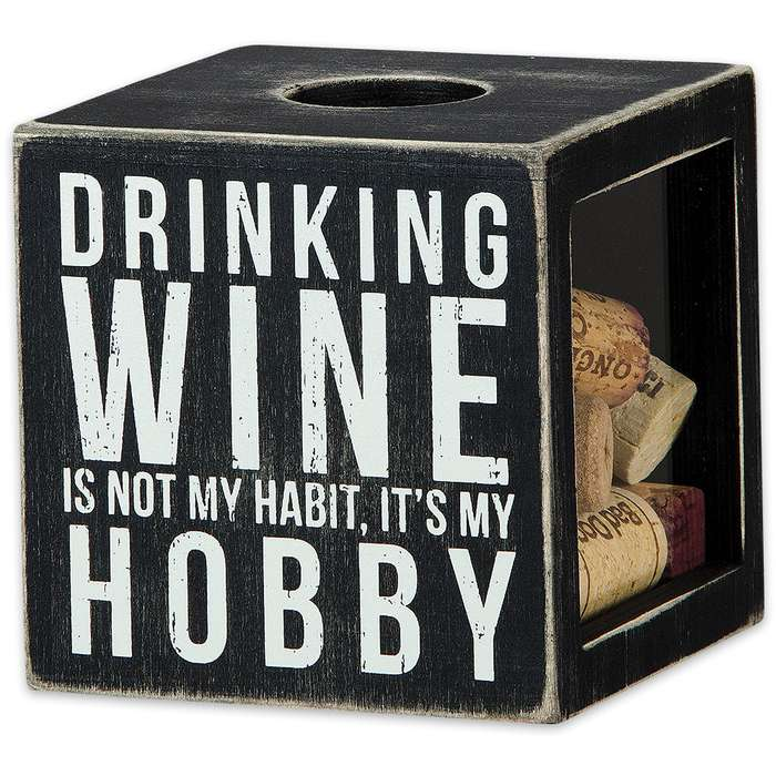 """Wine Makes Me Happy 4 1/4"""" Cube Rustic Wooden Shadow Box / Cork Holder"""