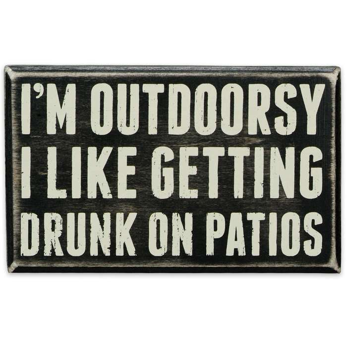 "I'm Outdoorsy 6 1/2"" x 4"" Rustic Wooden Box Sign"