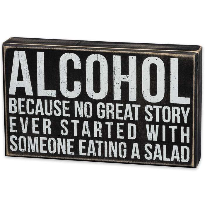 "Alcohol Great Story 10"" x 6"" Rustic Wooden Box Sign"