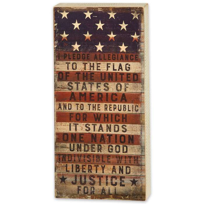 "Pledge to the Flag 9"" x 18"" Rustic Wooden Box Sign"