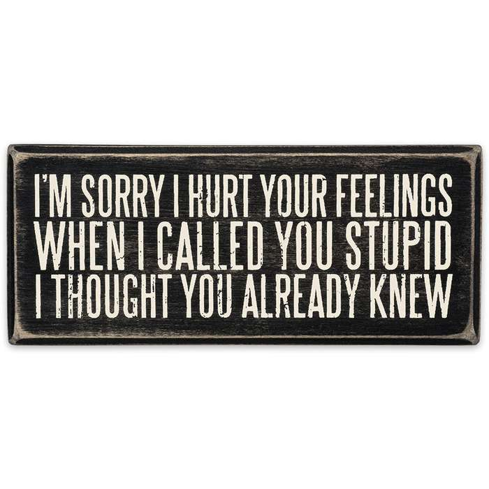 """""""Sorry I Hurt Your Feelings"""" 6"""" x 2 1/2"""" Rustic Wooden Box Sign"""