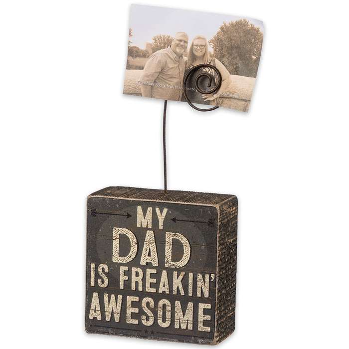 """""""Dad is Freakin' Awesome"""" 3"""" x 3"""" Rustic Wooden Photo Block"""