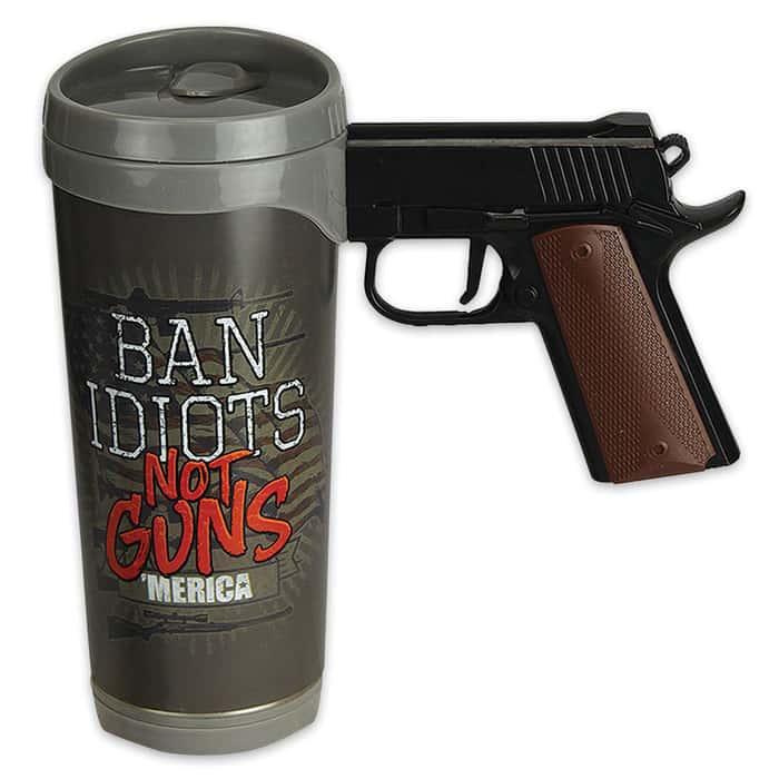Ban Idiots Replica Pistol Handle Mug