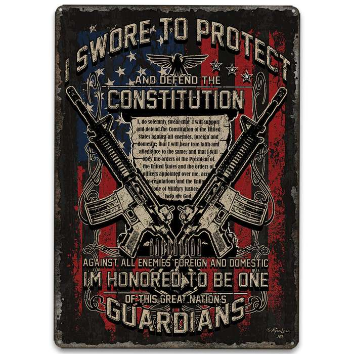 "Guardians Of The Constitution Tin Sign - Embossed Features, Weatherproof Finish, Rolled Edges, Pre-Punched Mounting Holes - 12""x 17"""