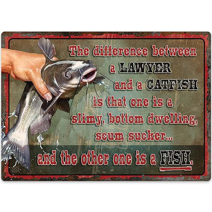 Catfish Attorney Tin Sign