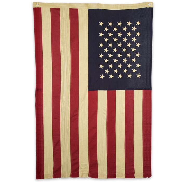 Antiqued Tea-Stained Cotton American Flag