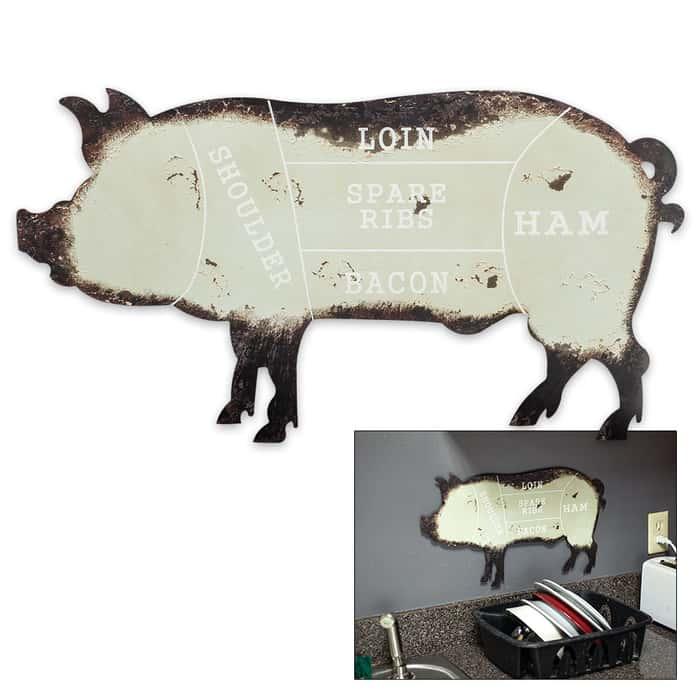 Pig Shaped Rustic Metal Sign Quot Pork Butchering