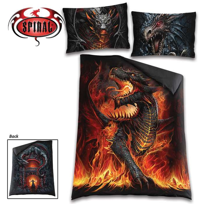 The duvet and pillow cases are made of top -quality, 100 percent woven cotton with original fiery dragon artwork