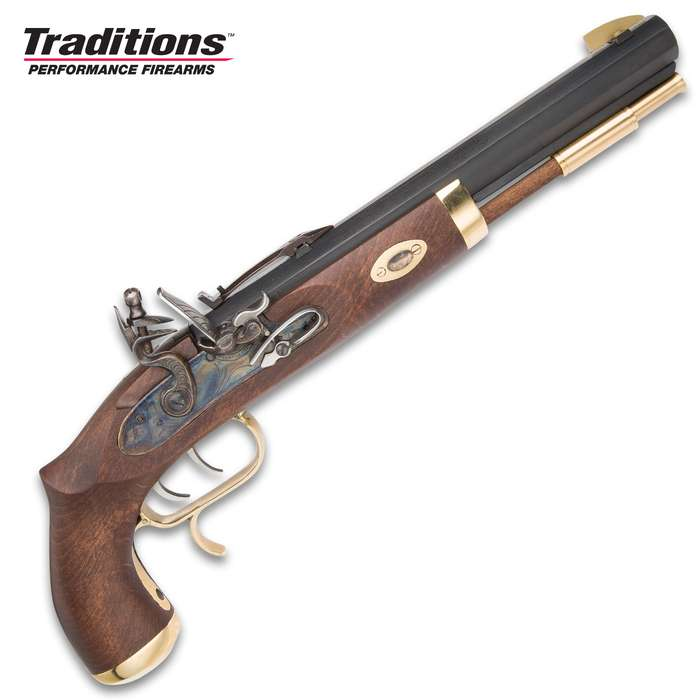 Trapper Classic Muzzleloading Flintlock Pistol - Blued Barrel, Select Hardwood Stock, 50 Caliber, Flintlock Ignition - Length 15 1/2""