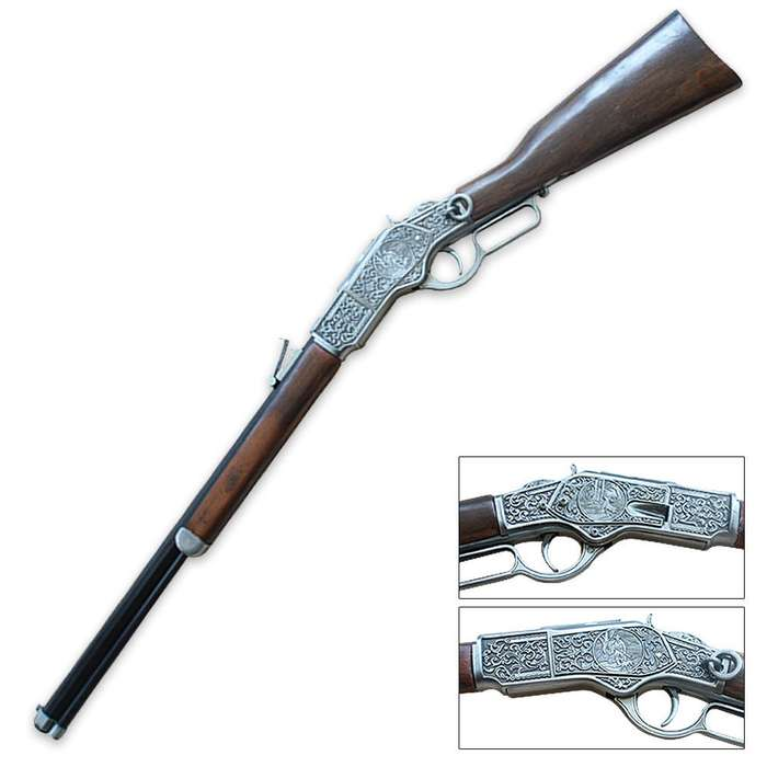 Antique Lever Action Rifle Gun Model with Stand