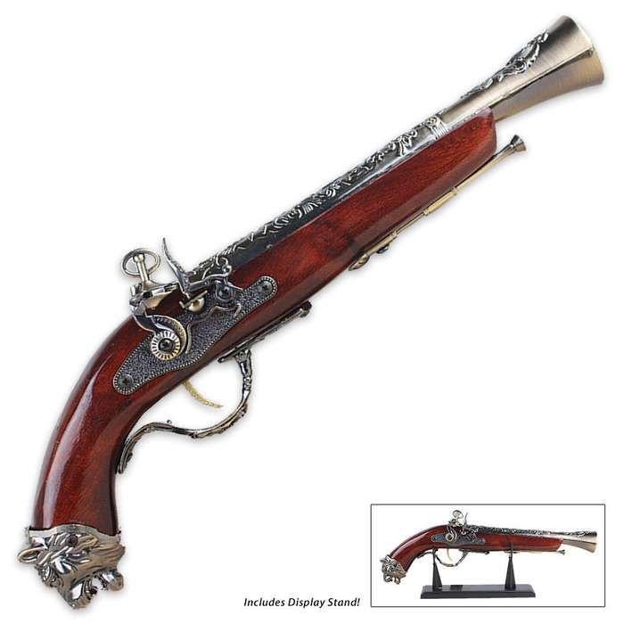 1688 Pirate Flintlock Blunderbuss Replica Gun Model with Stand