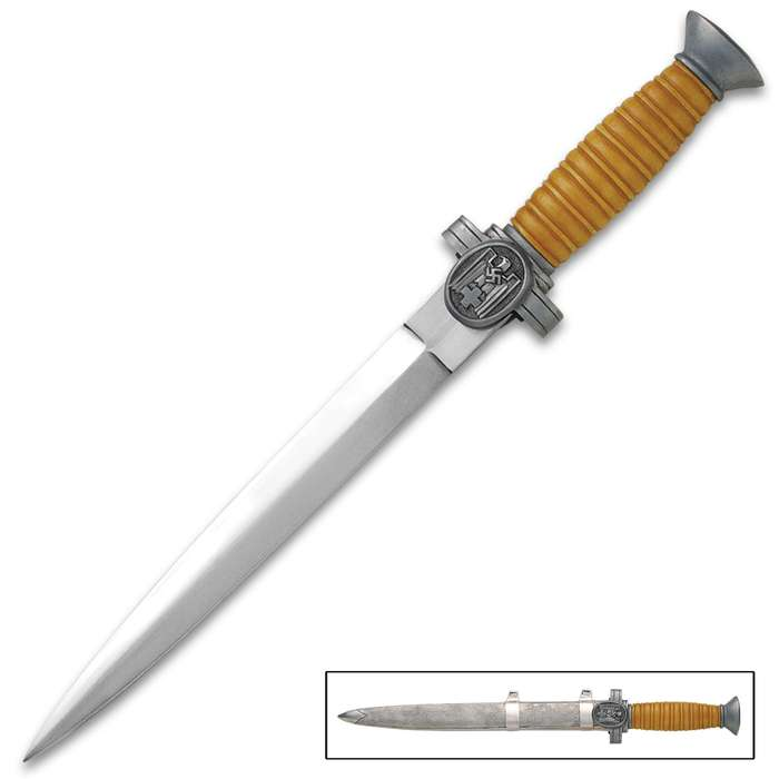 DRK Officer's Dagger - High Carbon Steel Blade, Nickel-Plated, Embroidered Dagger Knot