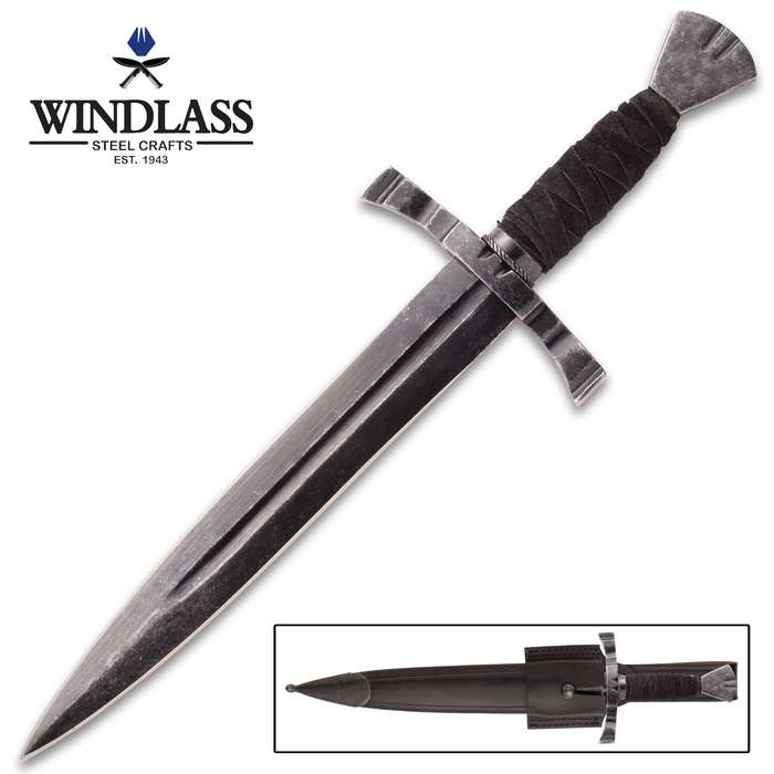 Battlecry Crecy War Dagger And Scabbard - 1065 High Carbon Steel Blade, Blued Patina, Certificate Of Authenticity - Length 15""