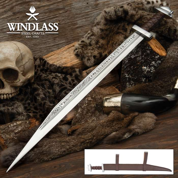 Runic Long Viking Seax Sword And Scabbard - Etched Blade, Leather-Wrapped Handle - Length 29 1/4""