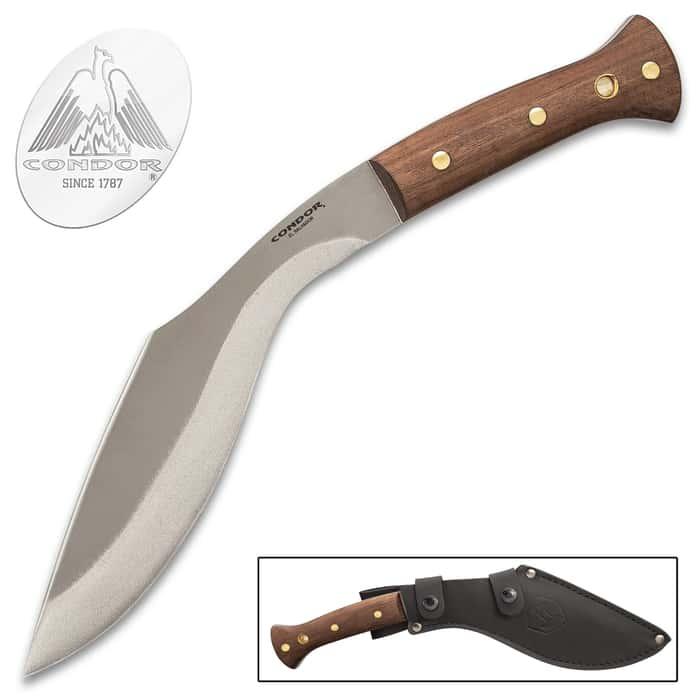 "Condor Heavy Duty Kukri Knife With Sheath - 1075 High Carbon Steel Blade, Blasted Satin Finish, Walnut Handle - Length 15"""