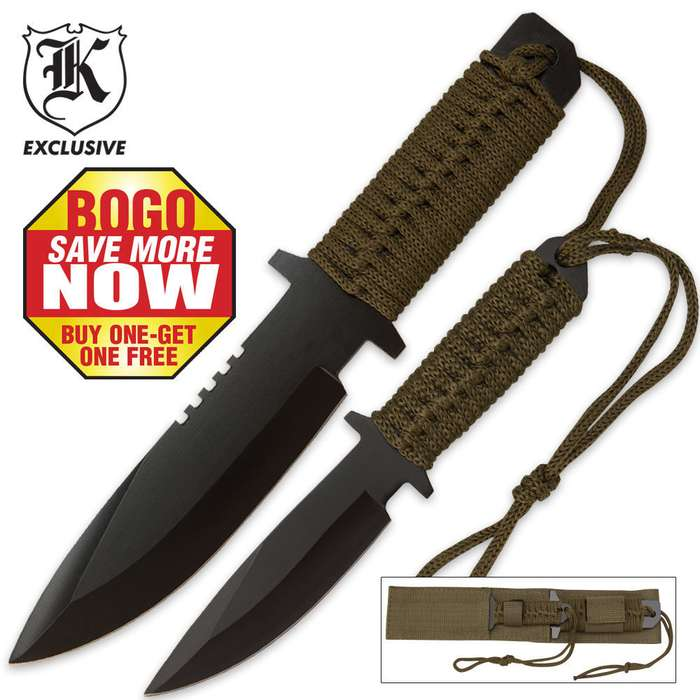 Two Piece Fixed Blade Knife Set With Cord Wrapped Handles 2 for 1