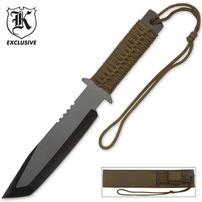 Paracord Wrapped Survivor Knife