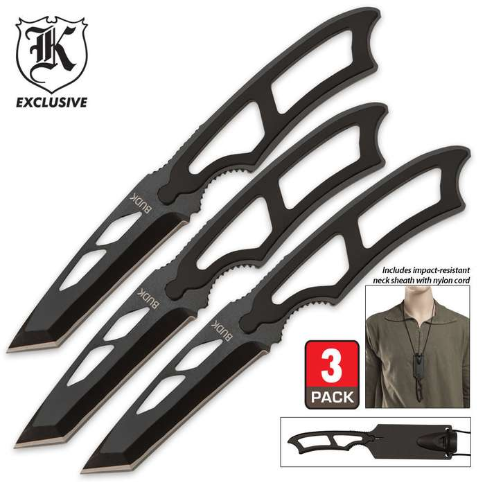 High Tech Survivor 3 Piece Neck Knife Set