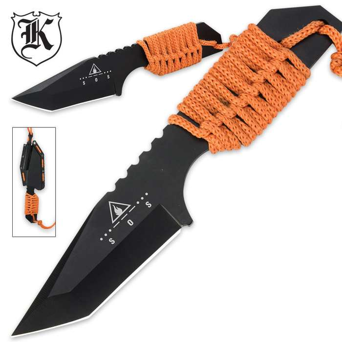 Survival Fixed Blade Tanto Neck Knife With Fire Starter & Sheath