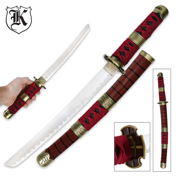 Red Emperor Tanto Sword With Scabbard