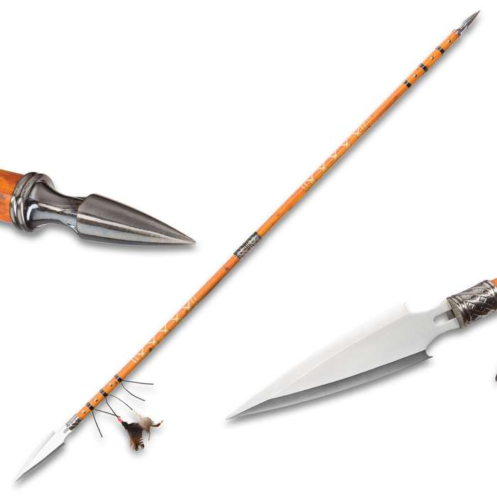 Double Pointed Native Spear - Wooden Shaft, Stainless Steel Spear, Breaks Down, Feather Accents, Leather Wrappings - Overall Length 67 1/4""