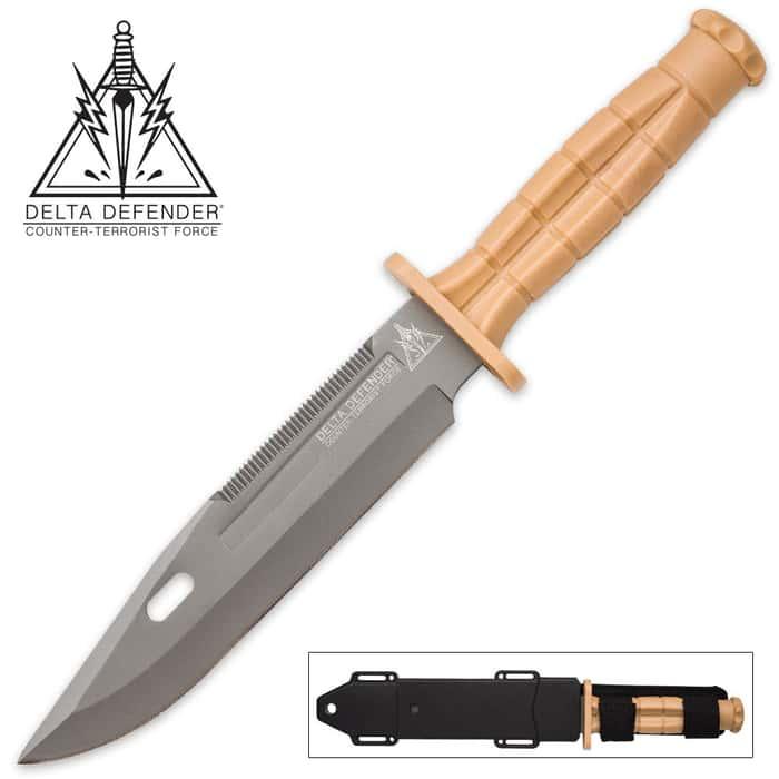 Delta Defender Khaki Fixed Blade Knife