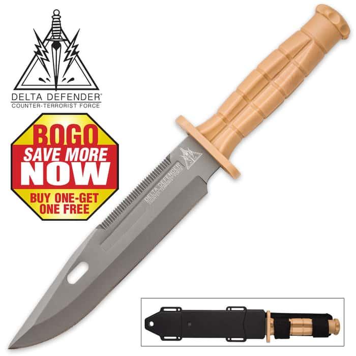 Delta Defender Khaki Fixed Blade Knife - BOGO