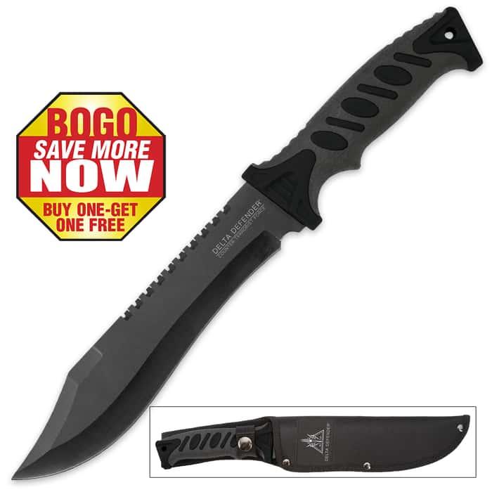 Bushmaster Survival Bowie Knife with Nylon Sheath - Black Handle Accents - BOGO