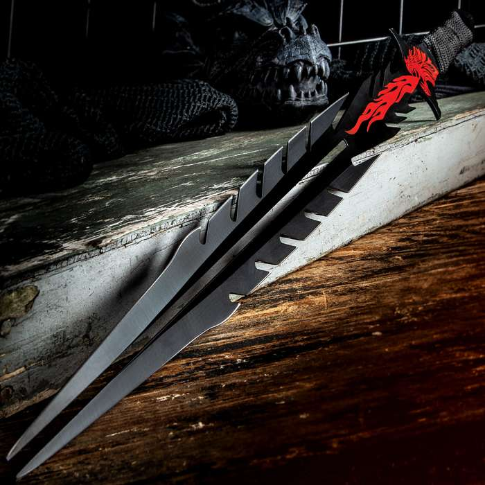 """Red Dragon Forked Tongue Sword With Sheath - Stainless Steel Construction, Non-Reflective Finish, Cord-Wrapped Handle - Length 25 3/4"""""""