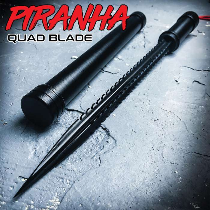 """Black Piranha Tooth Dagger With Pipe Sheath - Stainless Steel Quad-Edged Blade, Aluminum Handle, Lanyard Cord - Length 16 3/4"""""""