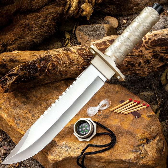 All-Terrain Survival Knife With Watertight Compartment And Sheath - Stainless Steel Blade, Aluminum Handle - Length 13""