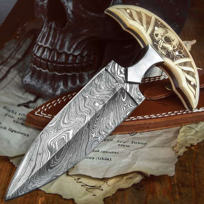 """Skull Bone Push Dagger With Sheath - Damascus Steel Blade, Double-Edged, Bone Handle Scales With Intricate Etch - Length 7 1/2"""""""