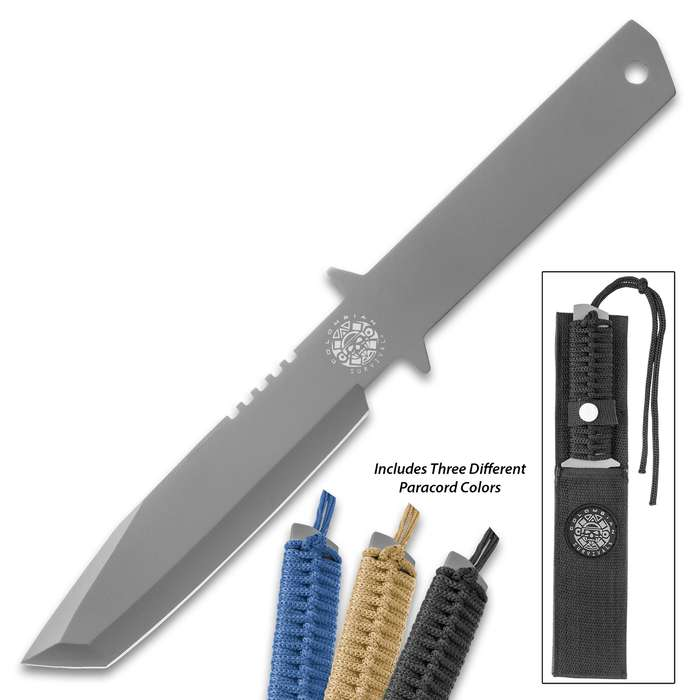 Colombian Survival® Tanto Knife With Sheath - One-Piece Stainless Steel Construction, Includes Three Nylon Cords To Wrap Handle - Length 11 1/2""