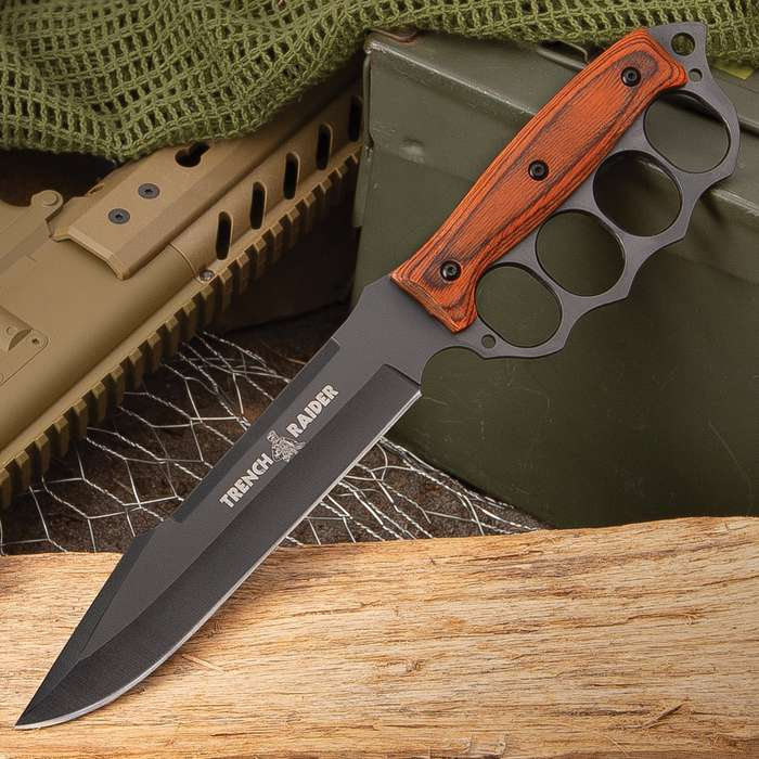 Trench Raider Fixed Blade Knife With Sheath - Stainless Steel Blade, Pakkawood Handle Scales, Knucklebuster Handle - Length 13""