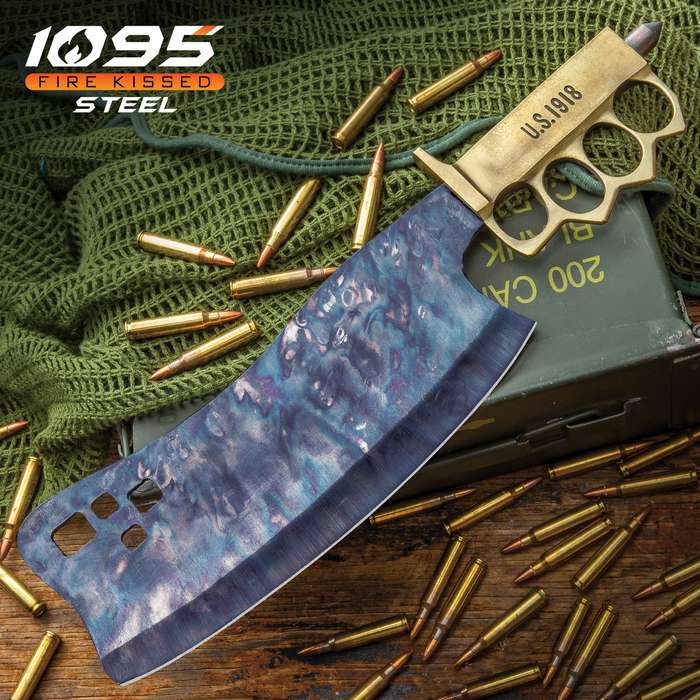 Combat Cleaver Trench Knife and Sheath - Fire Kissed 1095 Carbon Steel Blade, Brass Knuckle Guard Handle, Distressed Finish - Length 15""