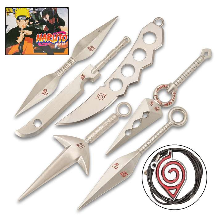 Naruto Miniature Weapons Seven-Piece Set - Metal Alloy Construction, Engraved Red Accents, Fan Collectibles - Approximately 5""
