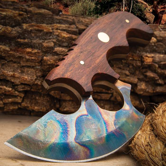 Traveler Modified Ulu Knife And Sheath - 1055 Fire Kissed Carbon Steel Blade, Wooden Handle Scales, Distressed Finish - Length 6 1/2""