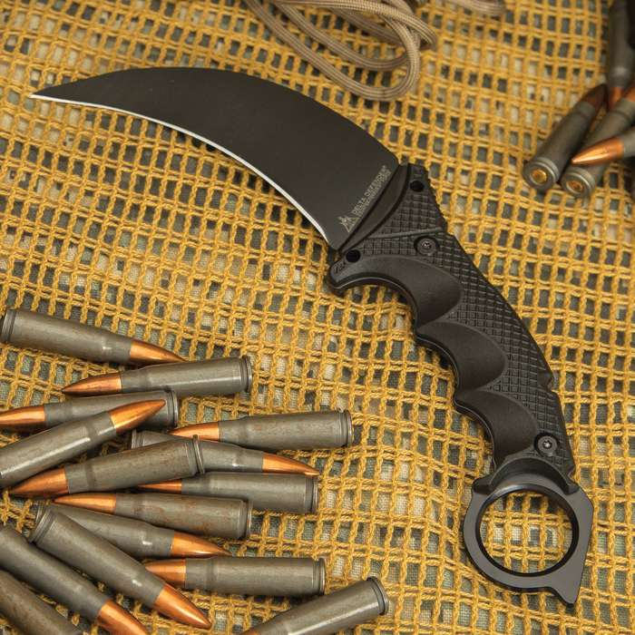 Delta Defender Black Karambit Knife And Sheath - Stainless Steel Blade, Nylon Fiber Handle Scales, Grooved Handle - Length 9""