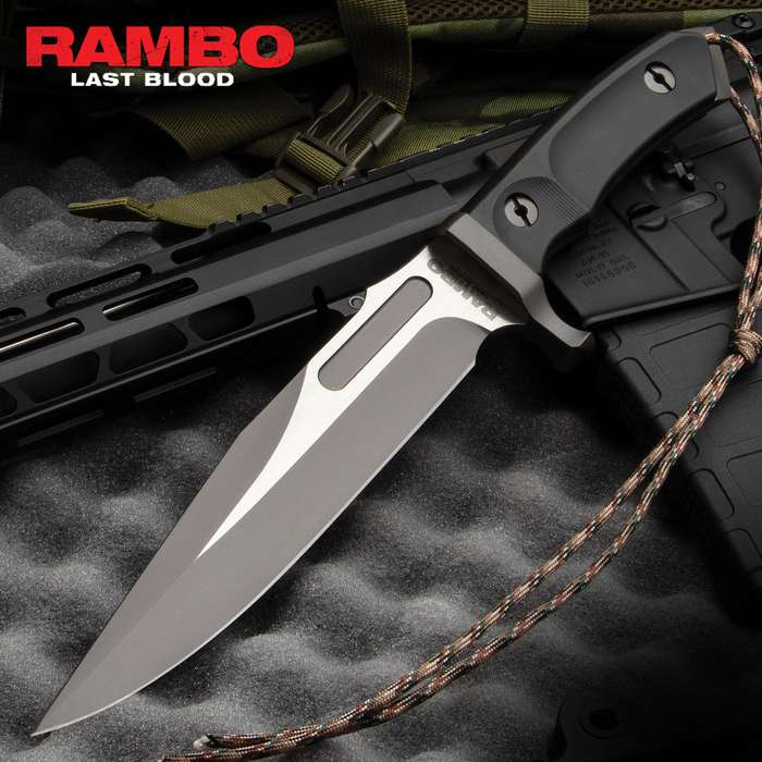 Rambo Last Blood Bowie Knife With Sheath - Officially Licensed, Stainless Steel Blade, Hardwood Handle Scales - Length 14""