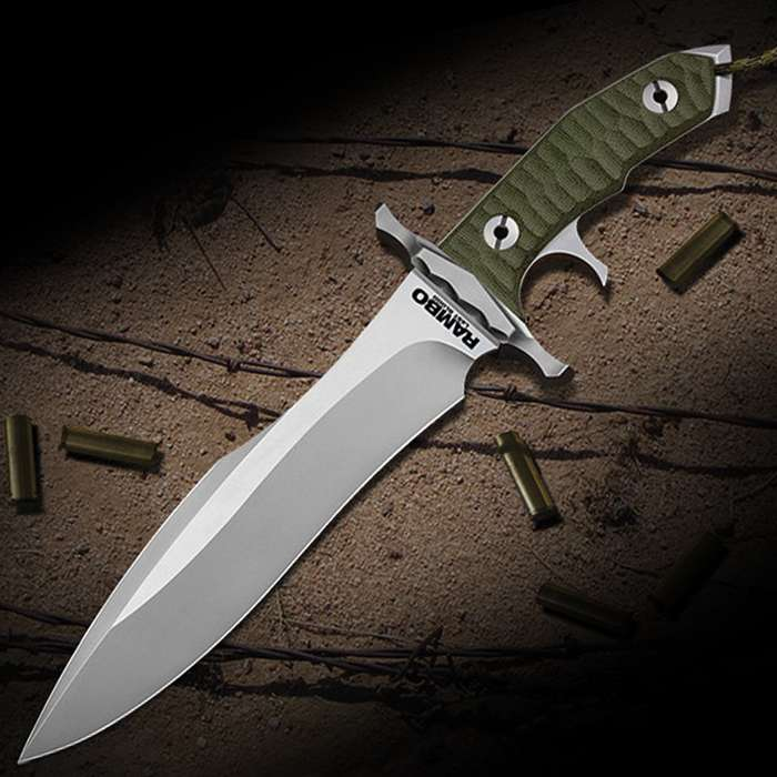 """Rambo Last Blood Heartstopper Knife With Sheath - Officially Licensed, Stainless Steel Blade, Sculpted Handle Scales - Length 15"""""""