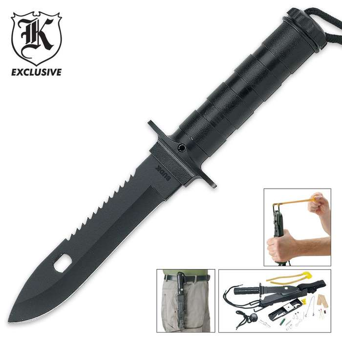 Survival Knife &  Survival Kit with Built In Slingshot