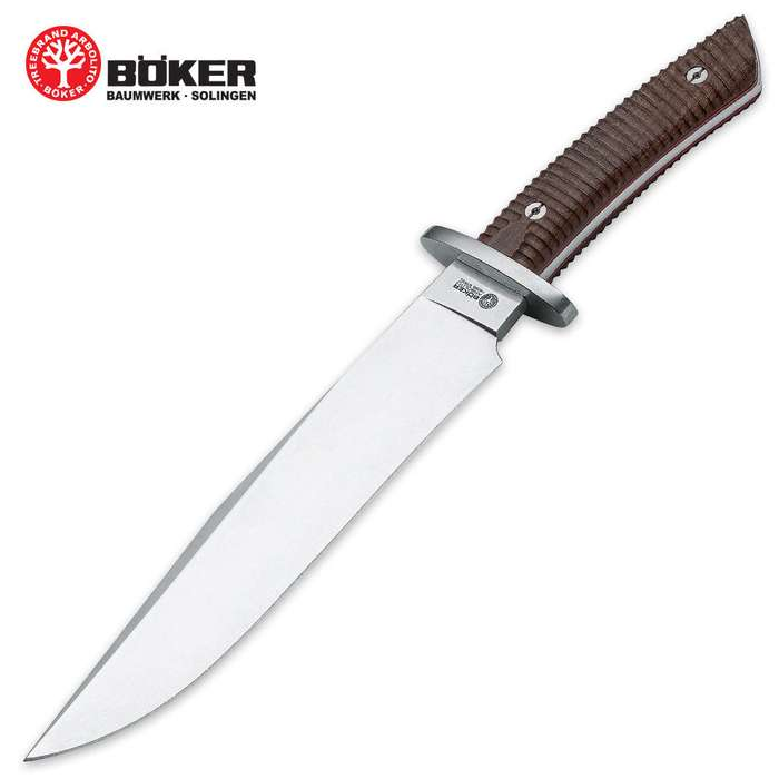 Boker Arbolito El Gigante Fixed Blade Bowie Knife With Leather Sheath