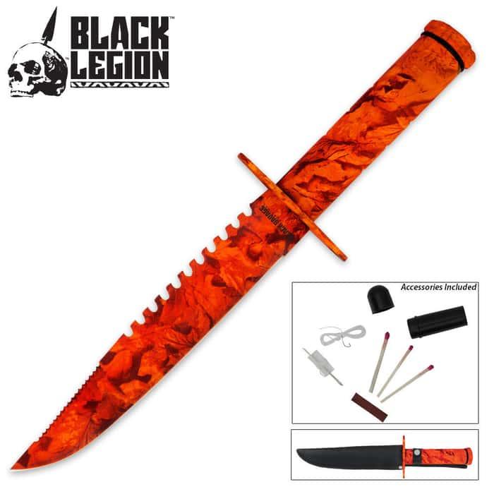 Black Legion Orange Camo Survival Knife & Sheath