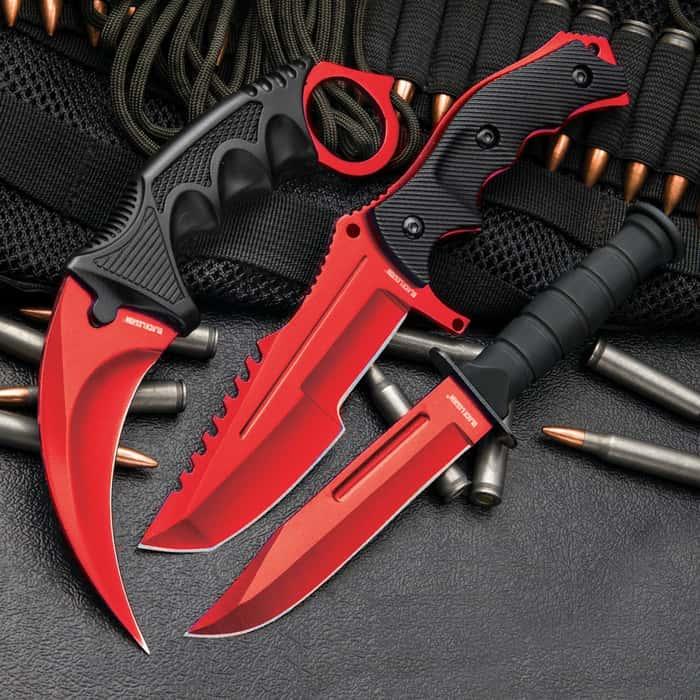 3-Pc. Knife Set Atomic Red | Karambit - Huntsman - Military Knife