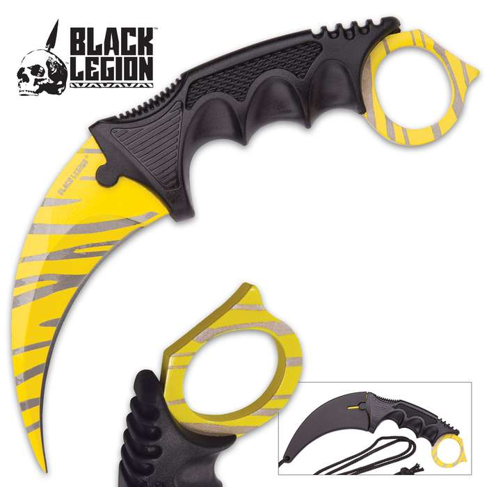"Black Legion Yellow Tiger Stripe Karambit With Heavy-Duty Sheath And Lanyard - Textured Handle - 7 1/2"" Length"