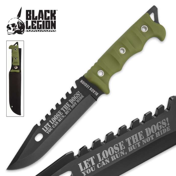 """Black Legion """"Let Loose the Dogs!"""" Fixed Blade Knife with Nylon Sheath - OD Green Handle"""