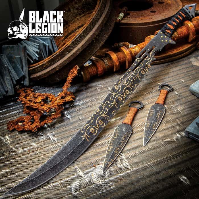 Black Legion Darkshade Steampunk Sword And Throwing Knives Set With Shoulder Sheath
