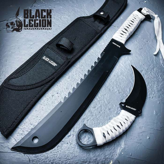 Black Legion Spectre Twins 2-Piece Knife Set - Karambit, Bowie Knife - 420 Stainless Steel, Black Coating - One-Piece Construction, Full Tang - Cord Wrapped Handles - Nylon Sheath - Black / White